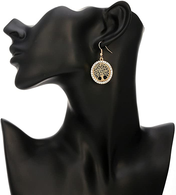 Dangle Earring for Women,Tree of Life Stud Earring with CZ Girls Rose Gold Drop Earring