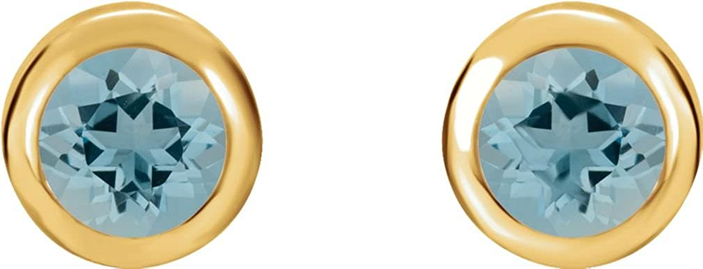 656295cfc Amazon.com: Blue Zircon Stud Earrings, 14k Yellow Gold: Jewelry