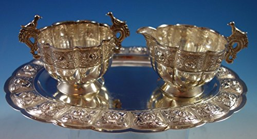 Aztec Rose by Sanborns Mexican Sterling Silver Sugar Creamer Tray Set 3pc #1770 (Aztec Creamer)