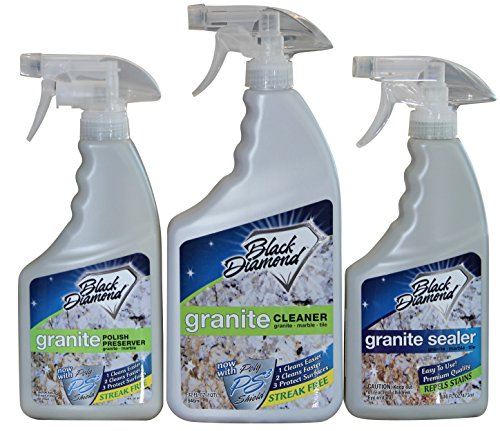 Black Diamond Granite Kit, Granite Cleaner 1qt, Granite Sealer Quality Oil and Water Repellent 1pt, Granite Polish Preserver 1pt: Natural Stone, Marble, Travertine, Tile , Concrete Countertops