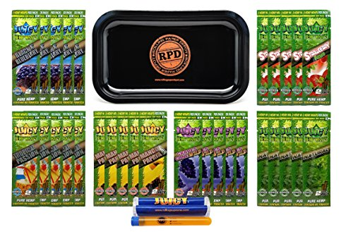 Bundle - 33 Items - Kingpin Flavored Hemp Wraps Sampler (6 Flavors, 5 Packs of Each) with Kingpin Wrap Roller, Rolling Paper Depot Rolling Tray (Rasta) and Doob Tube by Kingpin, Rolling Paper Depot