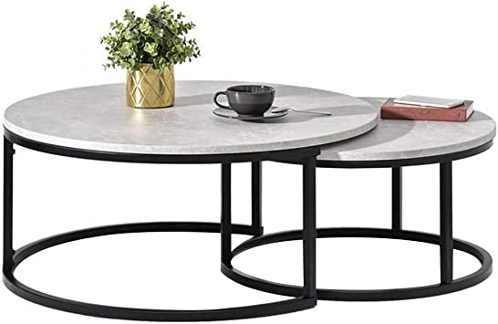 Amazon Com Koou Coffee Tables Round Natural Marble Nesting Table
