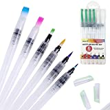 GPED Water Brush Pen Set, 6 Pieces Set Nylon Hair Brushes Refillable and Leakproof for Acrylic Oil Watercolor Gouache Painting and Calligraphy