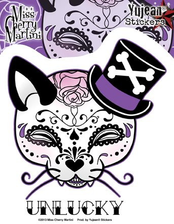 Miss Cherry Martini - Unlucky Top Hat Kitty - Sticker / Decal
