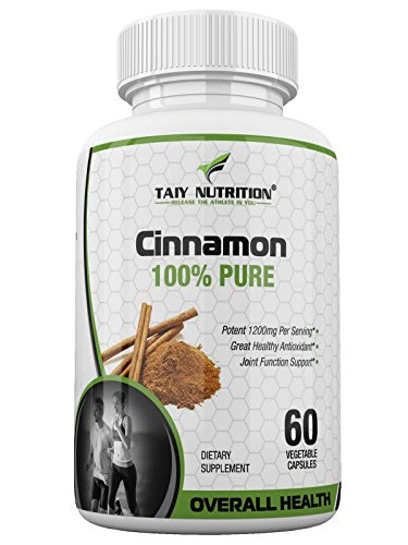 60 Sprinkle Capsules (Taiy Nutrition Organic Ceylon Cinnamon Herbal Dietary Supplement, 1200 MG Extra Strength Antioxidant, Supports Hearth Health, Promotes Joint Mobility, Balances Blood Sugar, 60 Veggie Caps)