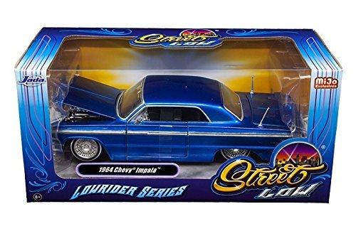 1964 Chevrolet Impala Blue Lowrider Series 1/24 Diecast Car Model By Jada 98932