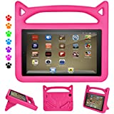 ThreeJ Case for All-New Amazon Fire HD 8 Tablet (7th Gen, 2017 Release), Light Weight Shock Proof Portable Handle Standing Protective Cover [Kids Friendly] for Fire HD 8 Tablet (Fire HD 8, Pink)