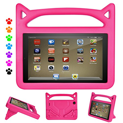 Flre 7 Tablet Case for Kids - Auorld Light Weight Shock Proof Handle Protective Cover with Built-in Stand for Flre 7 inch Display Tablet (Compatible with 2015&2017 Release) (Pink)