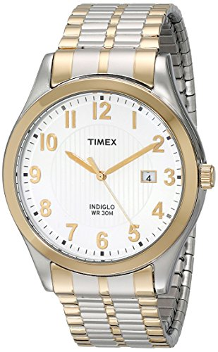 (Timex Men's T2N851 Woodcrest Drive Two-Tone Stainless Steel Expansion Band Watch)