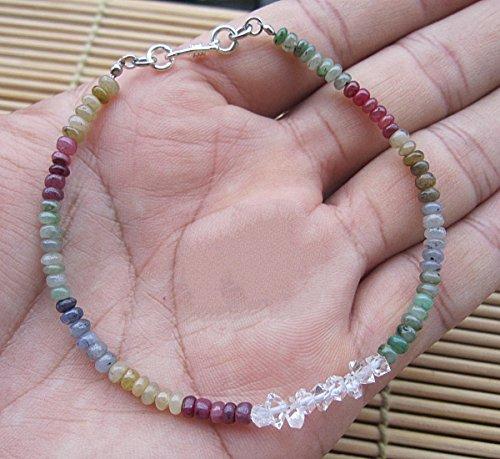Multi Color Sapphire bracelet,Herkimer Diamond Bracelet,Sapphire bracelet,Sapphire jewelry,Genuine sapphire bracelet,Natural sapphire bracelet,Herkimer diamond- 6.5,7,7.5,8,8.5