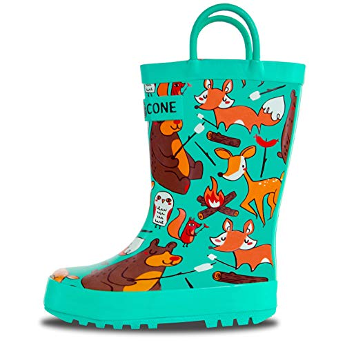 Price comparison product image LONECONE Rain Boots with Easy-On Handles in Fun Patterns for Toddlers and Kids, Campfire Critters, Toddler 8