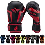 Elite Sports Boxing Gloves, Kickboxing, Adult & Kids Muay Thai Gel Sparring Training Gloves