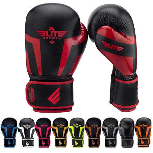 Elite Sports New Item Standard Adult Kickboxing, Muay Thai Gel Sparring Training Boxing Gloves (Red 14oz)