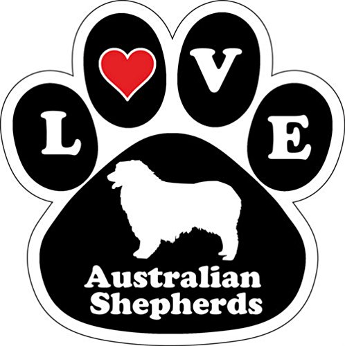 Love Australian Shepherds Dog Breed Paw Print Car Magnet 5 1/2