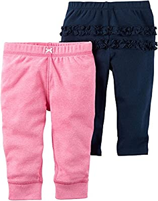 Carters Baby Girls 2-Pack Ruffle Pants 9 Months Pink