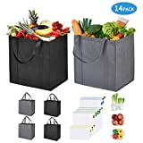 14 Pack Reusable Foldable Grocery and Produce Bags Set, 6 Reusable Grocery Bags with Handles and 8 Reusable Produce Bags, Foldable Bag and Breathable Mesh Produce Bag Set, Foldable Shopping Tote Bag