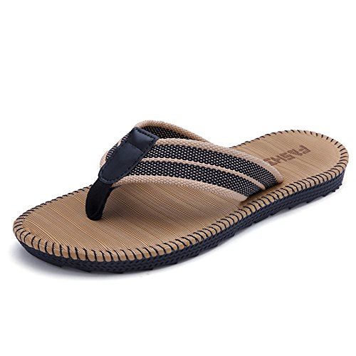 HomyWolf Men's Non-Slip Sandals Shock Proof Slippers Beach Flip-Flop, Khaki, Size US 10.5-11