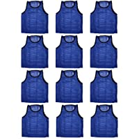 BlueDot Trading 12 chalecos de entrenamiento scrimmage de pinnies deportivos azules 12 adultos