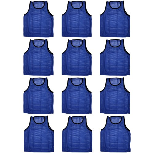 BlueDot Trading Youth Sports Pinnie Scrimmage Training Vest, Blue, 12 Pack