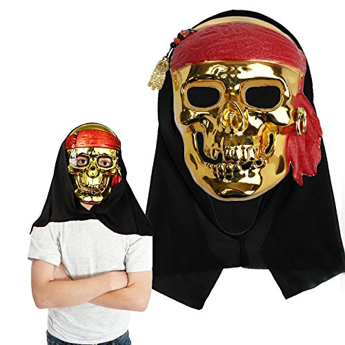 Pirate Mask - One Size Fits Most Kids and Adults - Holiday Party Dress-up Masquerade Intimidating Gold Costume - Fun and Spooky at the same time! By Toy Cubby. ()