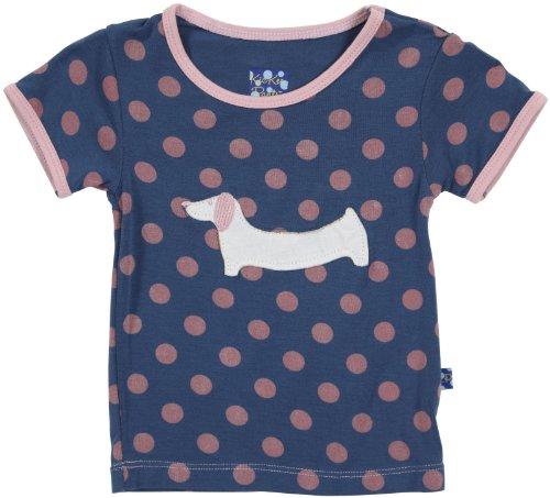 KicKee Pants Baby Girls' Applique Tee (Baby) - Twilight Dot Pup - 12-18 Months