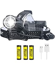 Ultra Bright XHP90 LED Headlamp USB Rechargeable 10000 Lumens XHP90 LED Headlight Head Torch 3 Modes with 18650 Battery Head Light Waterproof Zoomable Headlamps for Hiking Camping Fishing Hunting