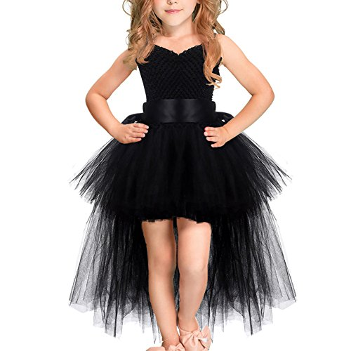Little Girls Handmade Tutu Tulle High Low Flower Birthday Party Photography Prop Fancy Lace Princess Dress Dance Ball Gown Black 7-9 Years ()