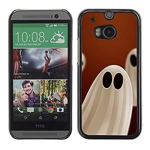 HTC One M8 - Metal de aluminio y de plástico duro Caja del teléfono - Negro - Halloween White Ghost
