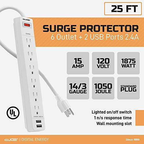 Digital Energy 6-Outlet + 2 USB 1050 Joule Protector contra sobretensiones Regleta con cable de extensión de 25 pies de largo, Blanco, Listado UL