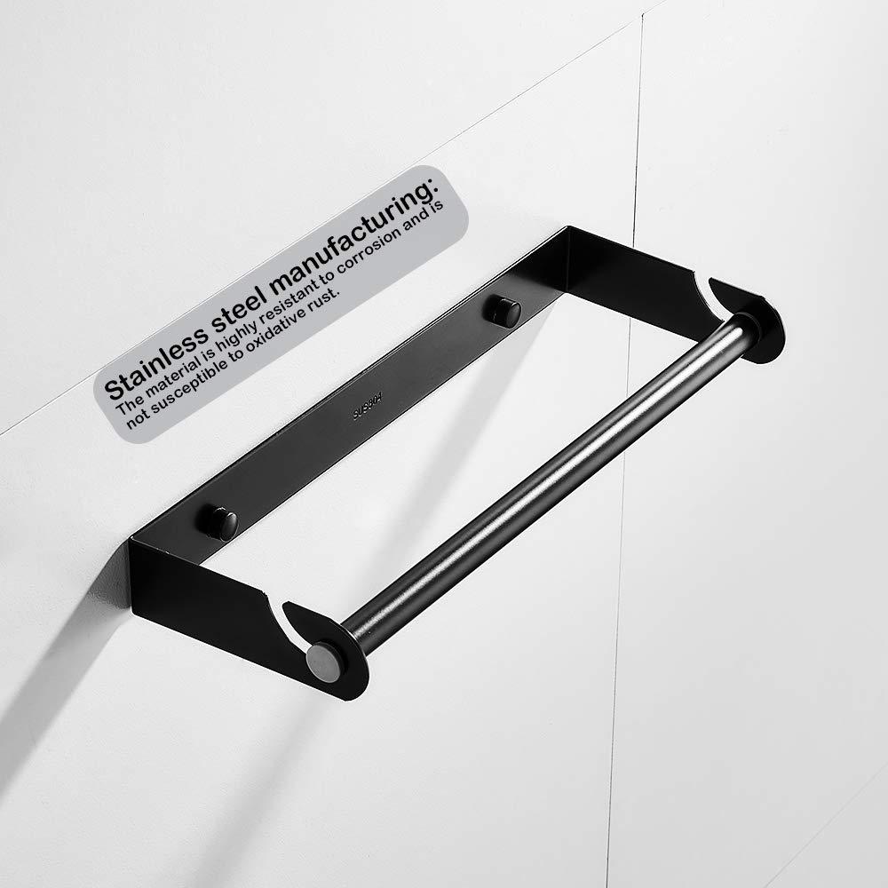 KUNGYO Portarrollos de Cocina Dispensador de Pel/ícula Adhesiva en Pared Negro, Perforaci/ón Soporte de Almacenamiento Desmontable del Acero Inoxidable para Papel de Aluminio