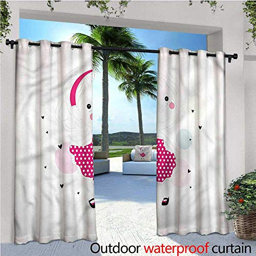 Front Dress Dotted (warmfamily Cute Outdoor- Free Standing Outdoor Privacy Curtain Girl in a Dotted Pink Dress for Front Porch Covered Patio Gazebo Dock Beach Home W96 x L96)
