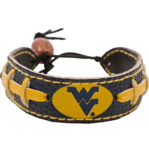 GameWear NCAA West Virginia Mountaineers Team Color Leather Football Bracelet