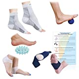 Plantar Fasciitis Foot/Ankle Compression Socks Sleeve (1 Pair), Silicone Heel Protector (1 Pair), Gel Arch Support (1 Pair), Foot Massager (1 Piece) & Spiky Foot Massage Ball (1 Piece) - (Pack of 8)