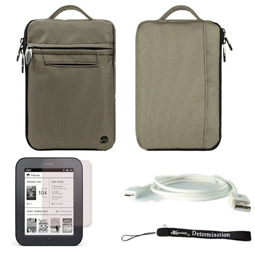Gray Mighty Nylon Jacket Slim Compact Protective Sleeve Bag Case for Barnes & Noble NOOK Simple Touch eBook Reader BNRV300 + White Micro USB Cable + Anti-Glare Screen Protector + Hand Strap by eBigValue