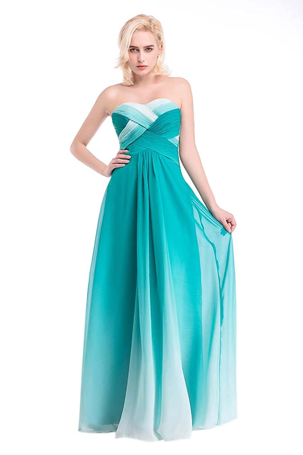 Hot Queen Women's Sweetheart Pleated Sleeveless High-Low Chiffon Long Prom Dresses 2016