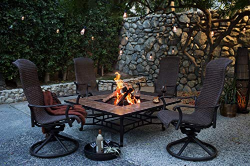 Patio Fire Pit Set. Modern Outdoor Furniture Kit of Aluminum, Tile, Resin Wicker for Porch, Lawn, Garden, Chat, 4 Person. Outside, Square, Fireplace Table, Swivel, Rocker Chairs (Dark Amber/Brown) ()