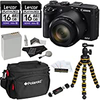 Canon PowerShot G3 X Digital Camera + Polaroid Snap and Wrap Flexi Tripod + Two Lexar 16GB SDHC 200X UHSI Class 10 + Polaroid Camera Bag + Spare Battery + Cleaning Kit + Card Reader + Screen Protector Advantages Review Image