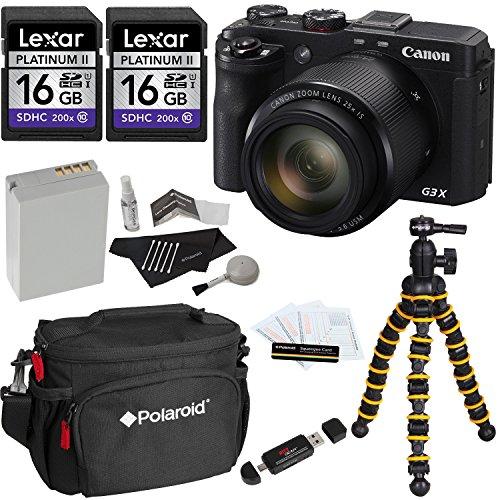 Canon PowerShot G3 X Digital Camera + Polaroid Snap and Wrap Flexi Tripod + Two Lexar 16GB SDHC 200X UHSI Class 10 + Polaroid Camera Bag + Spare Battery + Cleaning Kit + Card Reader + Screen Protector