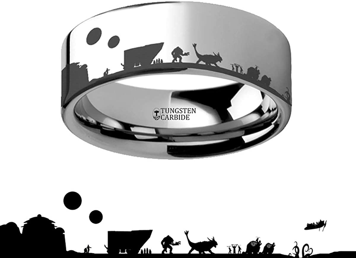 4mm Lightweight Titanium Titanium Rings for Men Star Wars New Hope Jawas Jabbas Palace Titanium Engraved Ring 12mm Thorsten Tatooine Comfort Fit