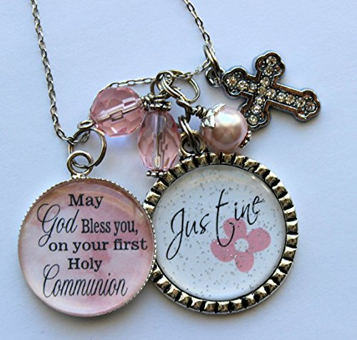 Amazon.com: Personalized FIRST HOLY COMMUNION GIFT, childrens name daughter granddaughter niece present big sister religious catholic beautiful quote: ...