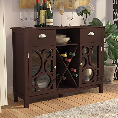 Wood Storage 16 Bottle Floor Wine Bottle Rack in Dark Cherry Color And Oval Ornamets Will Be Great Addition To Your Home and Help You Organize Your Items (Cherry Oval Cabinet)