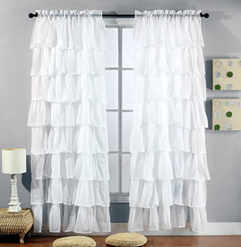 2 Piece Set -Solid WHITE Gypsy Ruffle Sheer - Crushed Voile Shabby Chic Window Panels / Drapes / Curtains - 2 Panels 54 inch X 84 inch each making 108