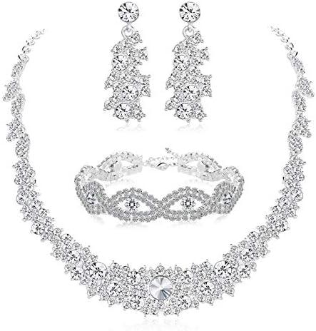 Udalyn Crystal Bridal Jewelry Set for Women Rhinestone Necklace Earrings Bracelet Wedding Bridesmaid Jewelry Set