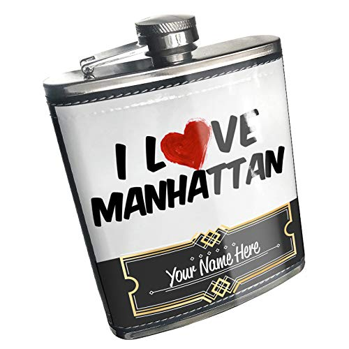 Neonblond Flask I Love Manhattan Cocktail Custom Name Stainless Steel