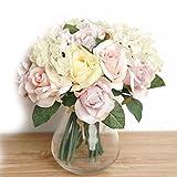 Meisijia Flor de Rose artificial Flor de seda rosada artificial para la decoración casera de la boda