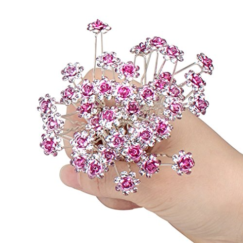 (ACO-UINT 40 Pack Rose Flower Hair Pins Crystal Silver Rhinestone Hair Pins Hair Clips for Women Bridal, with a Gift Bag (Pink))