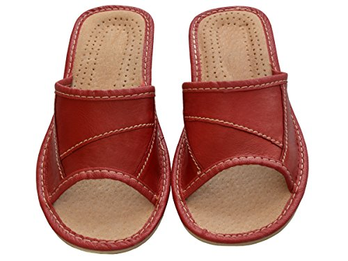 Bawal - Zapatillas de estar por casa de Piel para mujer Red+Box