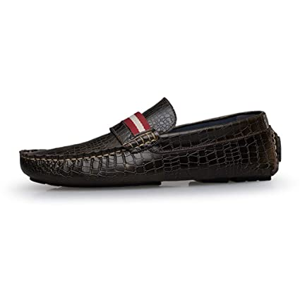 ZHRUI Hombres Mocasines Zapatos Zapatillas para Hombre Pisos Cocodrilo Patrón Color Zapatos de Conducción Mocasines Hombre