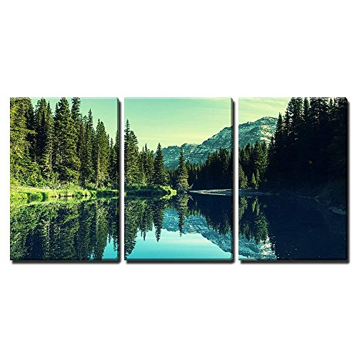wall26 - 3 Piece Canvas Wall Art - Glacier National Park, Montana. - Modern Home Decor Stretched and Framed Ready to Hang - 16