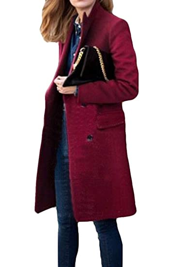 10ba1bca068 Belie Women s Pure Color Winter Slim Fit Wool Blend Double-Breasted Pea  Coats Wine Red